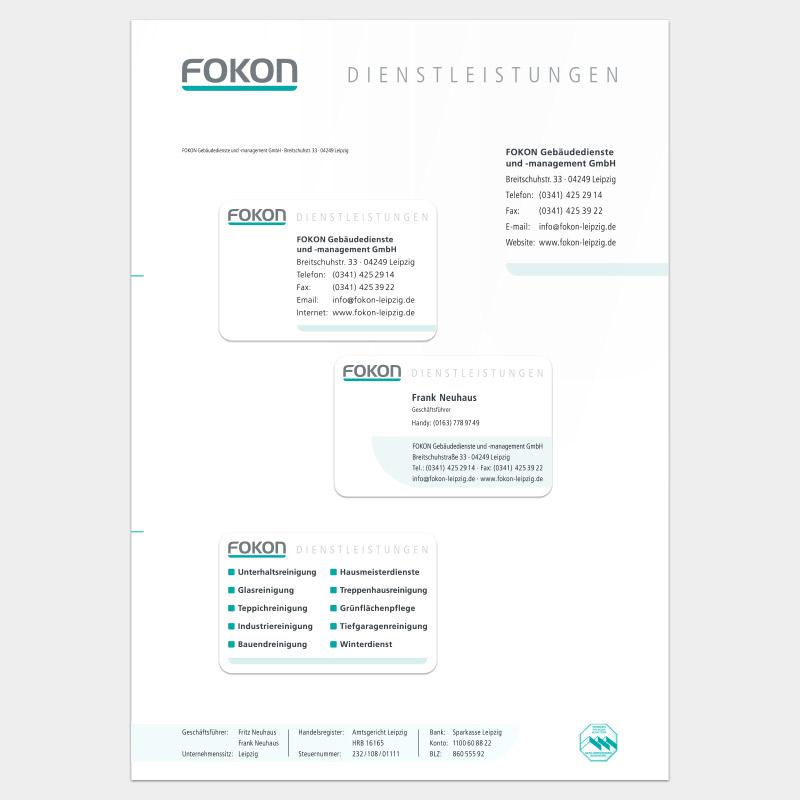 Geschäftsausstattung für die FOKON GmbH, Leipzig: Briefbogen und Visitenkarten
