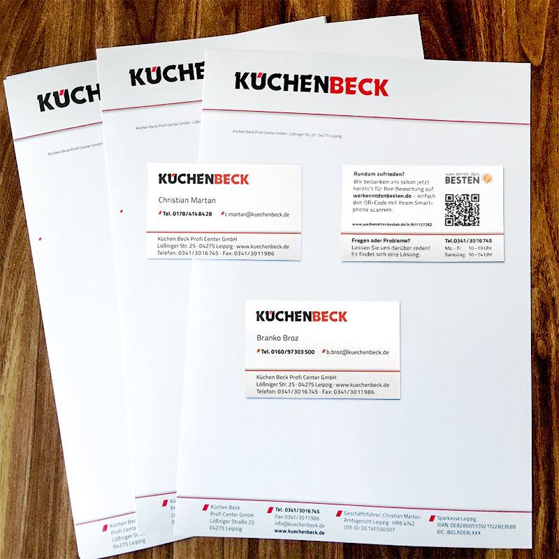 Geschäftsausstattung für die KüchenBeck GmbH, Leipzig: Briefbogen und Visitenkarten