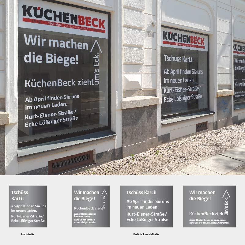 Schaufenstergestaltung anlässlich des Umzugs der Firma KüchenBeck in Leipzig | im Auftrag von Liebmann PR, Leipzig