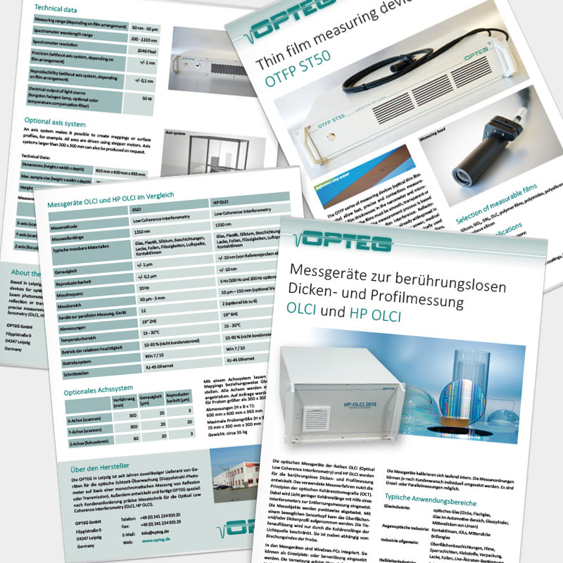 Produktflyer für die OPTEG GmbH, Leipzig | im Auftrag von Liebmann PR, Leipzig