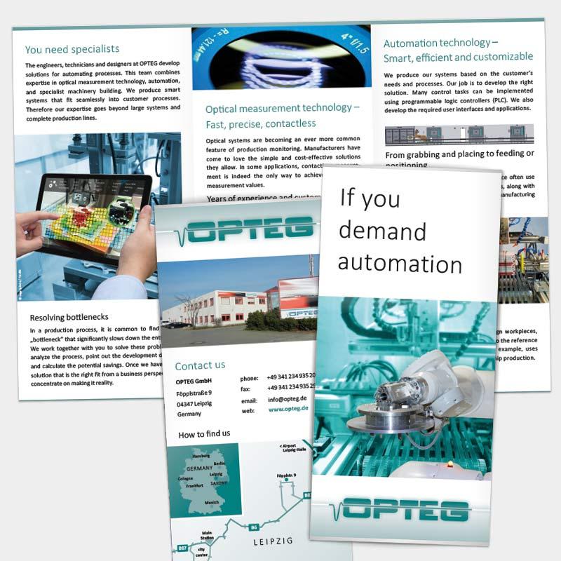englischsprachiger Imagefolder für die OPTEG GmbH, Leipzig | im Auftrag von Liebmann PR, Leipzig