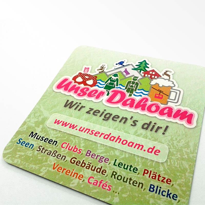 Flyer im Bierdeckelformat als Werbemittel für ein Projekt der Q3. Quartier für Medien.Bildung.Abenteuer gemeinnützige GmbH, Traunstein