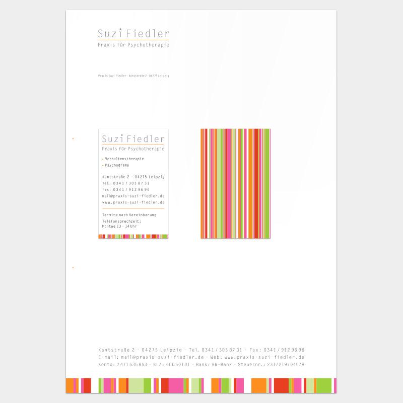 Geschäftsausstattung für die psychotherapeutische Praxis Suzi Fiedler, Leipzig: Briefbogen und Visitenkarte