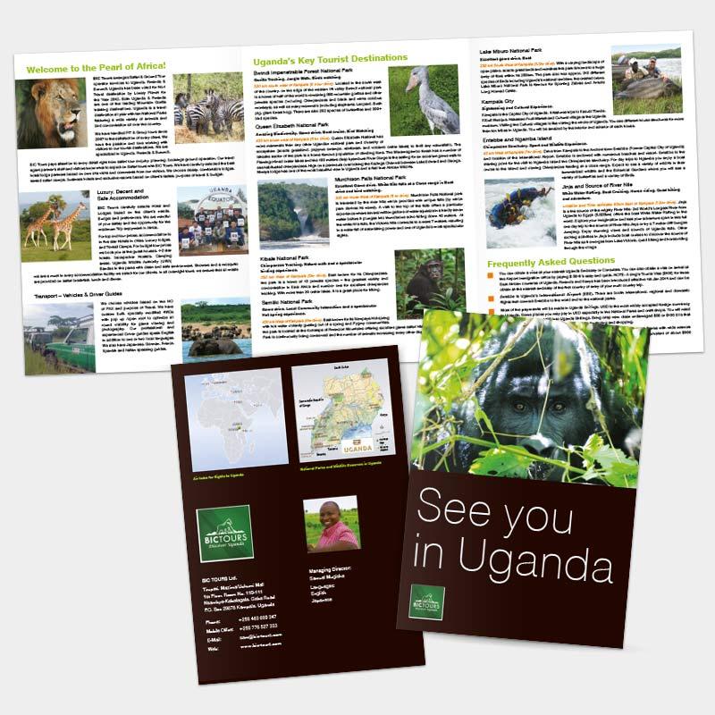 Faltflyer als Tourismuswerbung für die BIC Tours Ltd., Uganda | im Auftrag von Liebmann PR, Leipzig