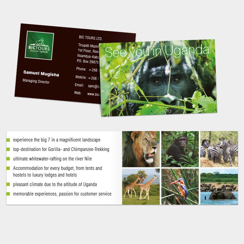 Klappvisitenkarte als Tourismuswerbung für die BIC Tours Ltd., Uganda | im Auftrag von Liebmann PR, Leipzig