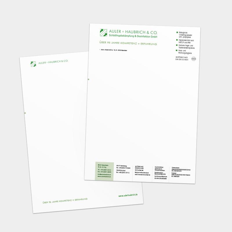Briefbogen und Folgebogen für die Auler + Haubrich & Co. Schädlingsbekämpfung & Desinfektion GmbH, Mannheim