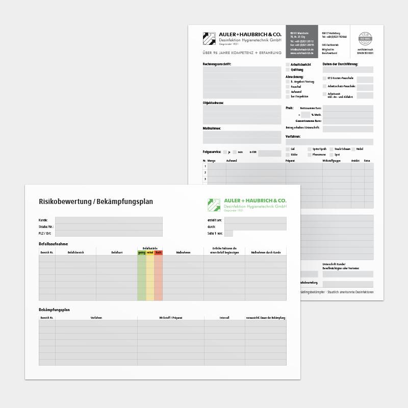 Formulare für die Auler + Haubrich & Co. Schädlingsbekämpfung & Desinfektion GmbH, Mannheim