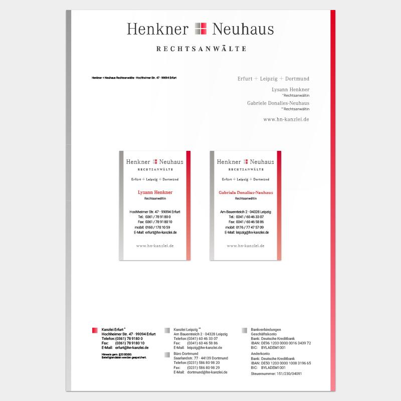 Geschäftsausstattung für Henkner + Neuhaus Rechtsanwälte, Erfurt und Leipzig: Briefbogen und Visitenkarte
