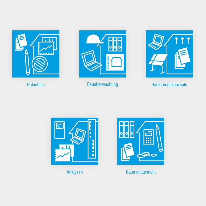 Icons für die Leistungsbereiche des ING-HL Ingenieurbüros