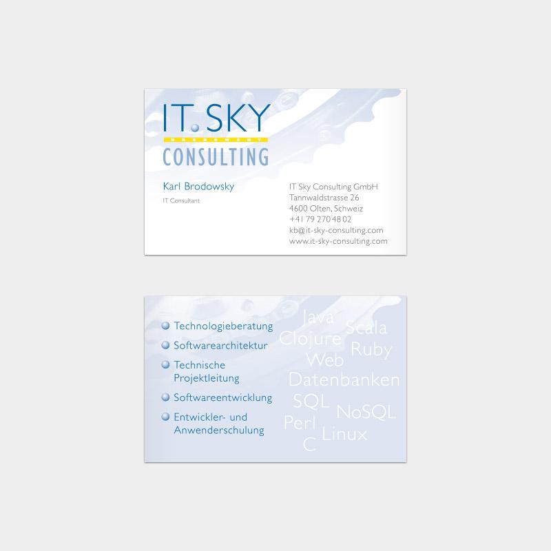 Visitenkarte für die IT.SKY Consulting GmbH, Olten/ Schweiz