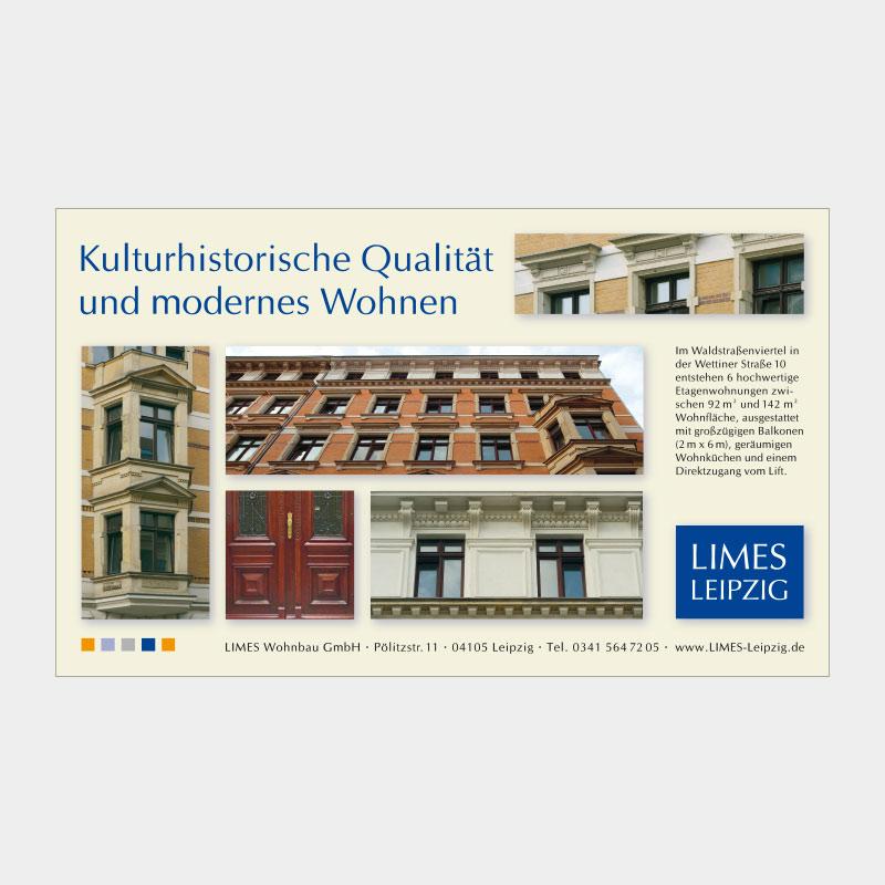Anzeige in Fachzeitschrift für die LIMES Wohnbau GmbH, Leipzig