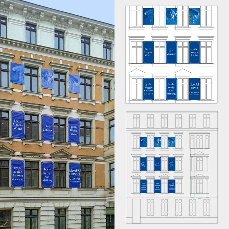 Immobilienwerbung auf 9 Planen für die LIMES Wohnbau GmbH, Leipzig
