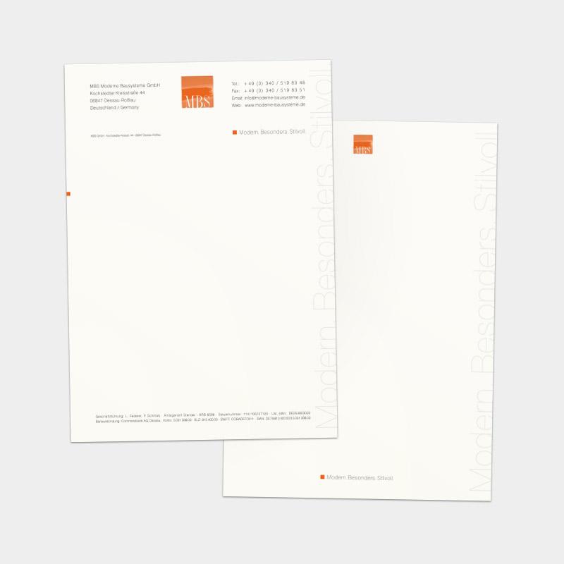 Briefbogen und Folgebogen für die MBS Moderne Bausysteme GmbH, Dessau-Roßlau