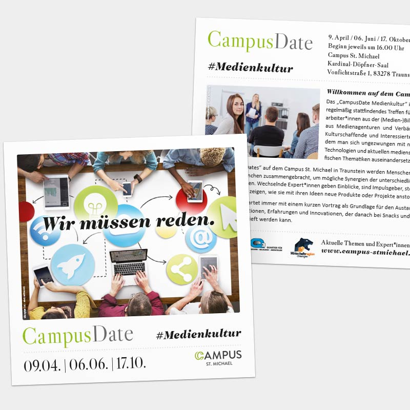Flyer für eine Veranstaltung der Q3. Quartier für Medien.Bildung.Abenteuer gemeinnützige GmbH