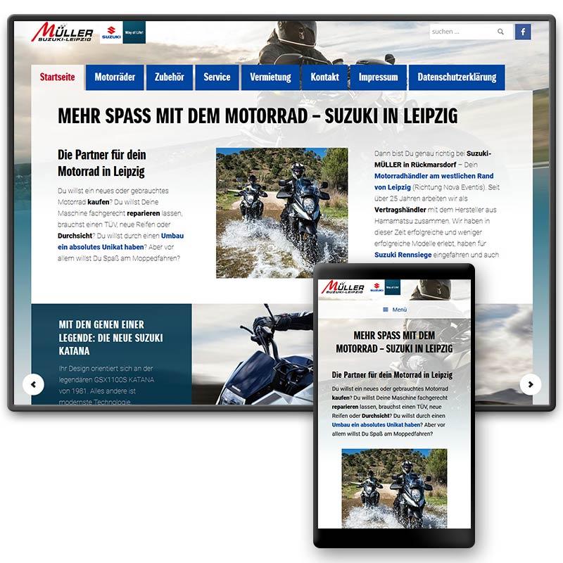 Website für das Motorradhaus Suzuki-Müller in Leipzig | im Auftrag von Liebmann PR