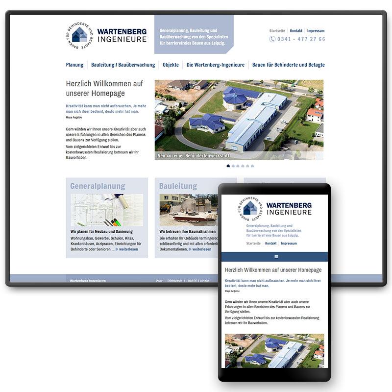 Website für die Wartenberg Ingenieure – Spezialisten für barrierefreies Bauen, Leipzig