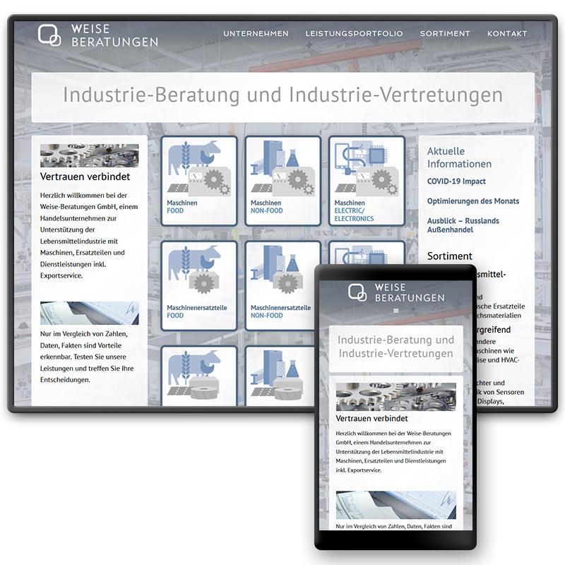 Website für das mittelständische Exporthandels-Unternehmen für Industriebedarf Weise-Beratungen in Mertendorf, Sachsen-Anhalt